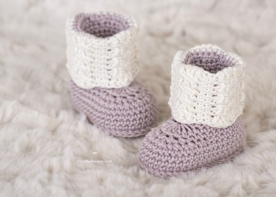 Apricity Cable Baby Booties Crochet Pattern