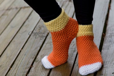 Candy Corn Socks Free Crochet Pattern