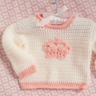 Crochet Little Princess Crown Sweater