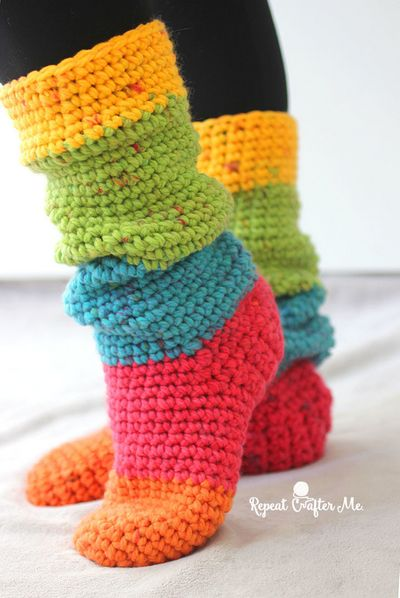 Free Crochet Chunky Slouchy Slipper Socks Pattern