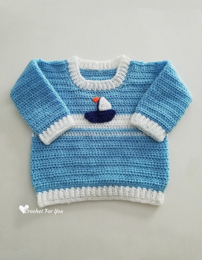 Free Crochet Set Sail Baby Sweater Pattern