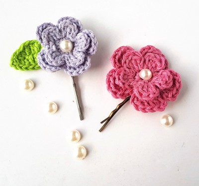 Spring Flower Hair Clips Free Crochet Pattern