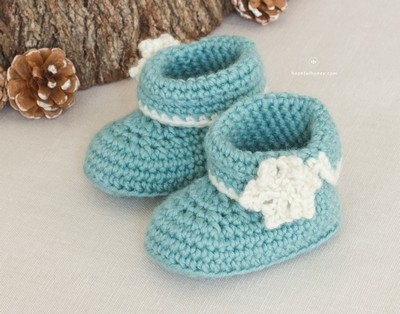 Winter Wonderland Baby Booties Crochet Pattern