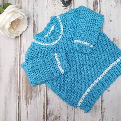 Free Crochet Baby Ribbed Shoulder Sweater Pattern