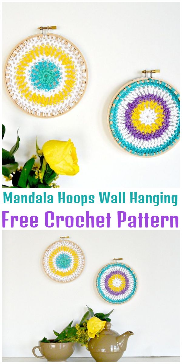 Free Crochet Mandala Hoops Wall Hanging Pattern