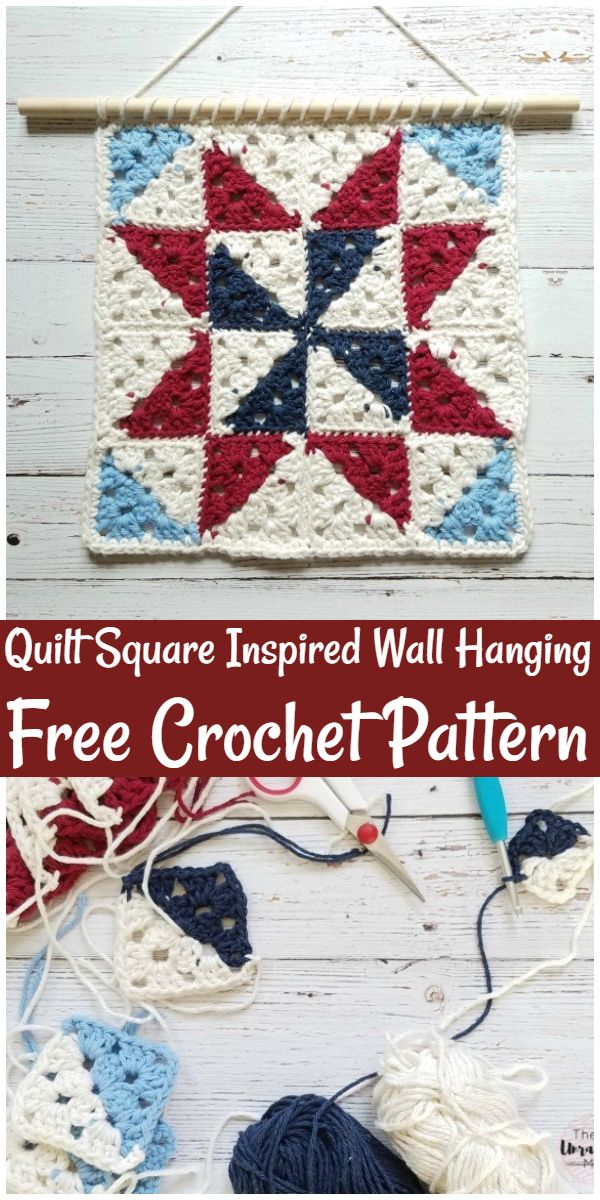 Free Crochet Quilt Square Inspired Wall Hanging Pattern